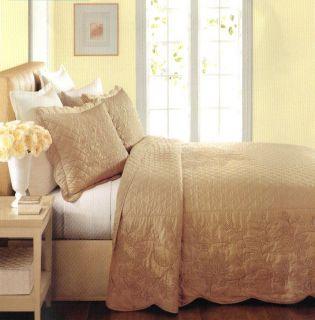 Martha Stewart Pressed Flowers Sandbar (Taupe) Queen Quilted Bedspread