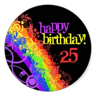 Rainbow happy 25th birthday sticker