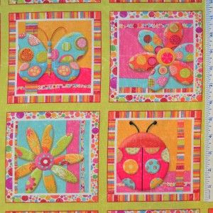 Half Yard Maron SPx Fabrics Magic Garden Large Sqares Flowers