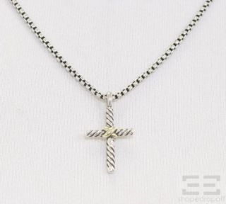 David Yurman Sterling 14k Gold Petite Cross Pendant Necklace