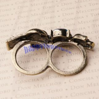 New Vintage Skull Double Finger Ring Punk Rock Size M N J0071