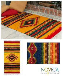 Sun Hand Woven Zapotec Wool Area Rug 3x5 ft Novica Mexico