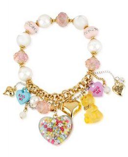 Betsey Johnson Bracelet, Gold Tone Glass Multi Charm Half Stretch