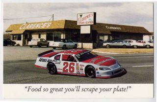 MARTINSVILLE VA Clarence Steak House NASCAR Race Car postcard Stock