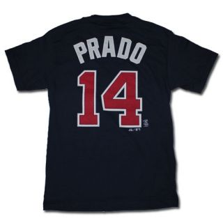 Majestic Atlanta Braves 14 Martin Prado Navy Player Number T Shirt