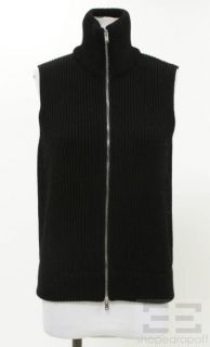 Martin Margiela Black Ribbed Knit Zip Up Sweater Vest Size L