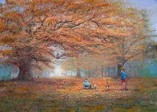 Winnie Pooh The Joy of Autumn Leaves Peter Ellenshaw Disney New Canvas