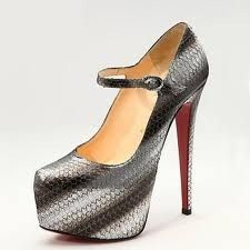 Louboutin LADY DAF Watersnake Platform Mary Jane Pumps Heel Shoes 35.5