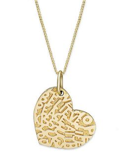 14k Gold Necklace, Inspirational Heart Pendant   Necklaces   Jewelry
