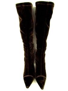 Womens Brown Martinez Valero Velvet Knee High Boots Wedges Heels Point