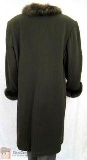 Womens VTG Marvin Richards Black Lambswool Coat Long Size 14 w/ Fur
