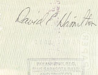 Marvin Miller Signed Autographed Check MLBPA David Hamilton D 2012 HOF