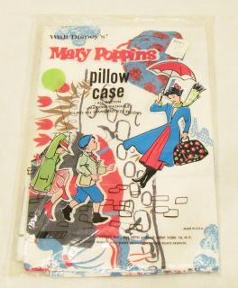 Walt Disneys Mary Poppins 1968 Pillow Case Mint SEALED Unused Store
