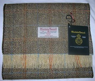 Handmade Genuine Harris Tweed Wool Fabric Scarf Brown Herringbone