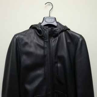 Marc Jacobs Black Hooded Leather Jacket XS Balmain Rick Owens Margiela