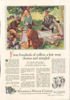 Maxwell House Coffee Picnic Scene Ad 1928