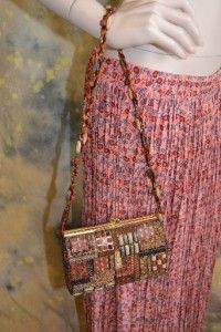 Mary Frances Beaded Ethnic Purse Handbag Boho Bohemian Bag Brown Rust