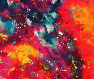 Acrylic Color Meditation abstract galaxy stars red 16x20 Ron Masa
