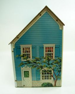Vtg 29 Wide 20 Tall Doll House Masonite Printed Paper Construction