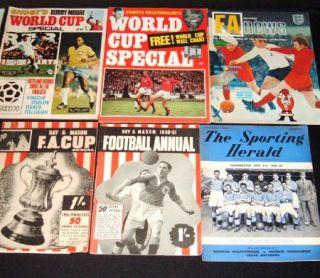 Mixed Lot Vintage Football MEMORABILIA1949 Onwards Programmes Books