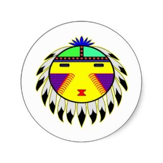 Native American Indian Sun Face Totem Round Sticker