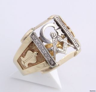Vintage Masonic Master Mason Blue Lodge Ring 14k Yellow White Gold