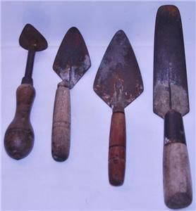 Antique Brick Mortar Concrete Pointing Trowels w Wood Handle