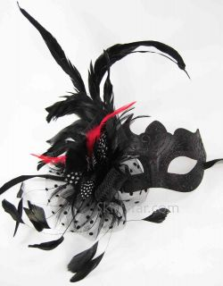 Venetian Half Face Mask Masquerade Feather Black Pink Glitter Fancy