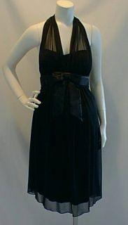 New Black Halter Cocktail Satin Maternity Dress Large