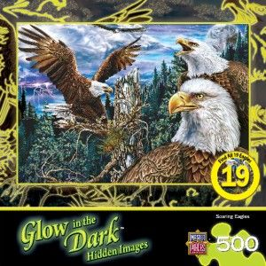 Masterpieces Glow in The Dark Soaring Eagles Jigsaw Puzzle 500 PC