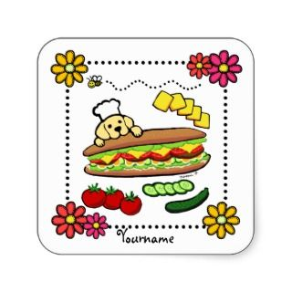 Personalized Yellow Labrador Bakery Cartoon Square Stickers