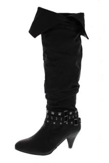 Material Girl New Blade Black Studded Kitten Heels Over The Knee Boots
