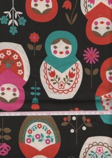 Big Matryoshka Print Black Japanese Fabric Half Yard