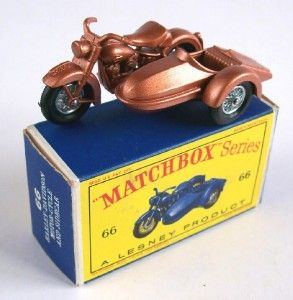 Matchbox Lesney 66 Harley Davidson Motorcycle and Sidecar 1962 MIB
