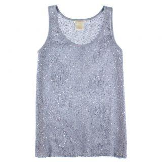 Matty M Womens Medium Crochet Knit Sleeveless Top Tank w Sequins Slate