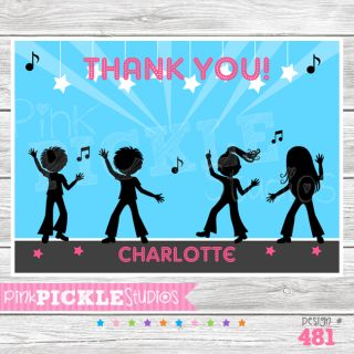 Dance Party Personalized Party Invitation or Thank You Card 481