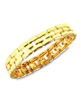Robert Lee Morris Bracelet, Gold Tone Glass Stone Hammered Link