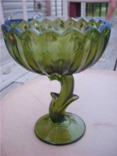 Vintage Deco Green Art Glass Footed Stem Comport Bowl