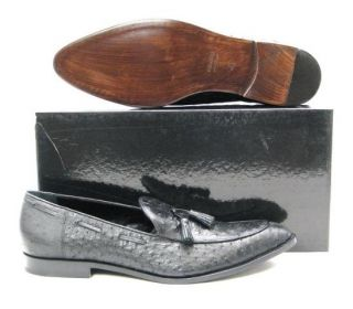 1295 Max Kibardin Mens Black Ostrich Loafers