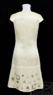 MaxMara Ivory Wool Silk Jacquard Embellished Hem Shift Dress Size US 2
