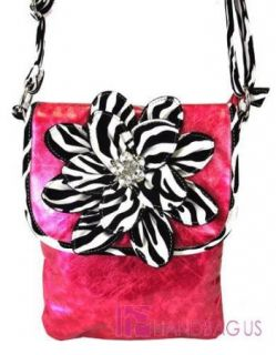 Shiny Zebra Flower Cross Body Messenger Bag Pink
