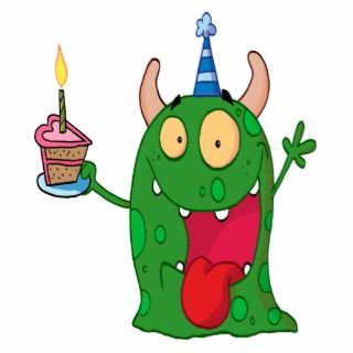 funny birthday monster cartoon character cut out