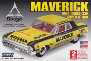 1964 Dodge 330 Super Stock Maverick 1 25th Plastic Model Kit Lindberg