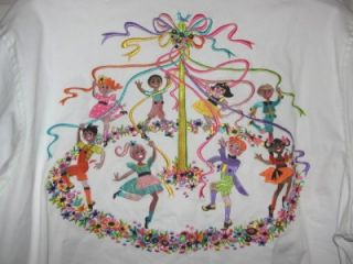 Wearable Art Button Down Blouse Shirt Womans Maypole Emroidered