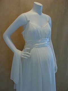 New Ivory Cocktail Maternity Wedding Dress Satin XL