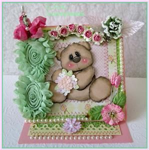 KAM HANDMADE PREMADE TEAR BEAR PAPER PIECING EASEL GREETING CARD BOX