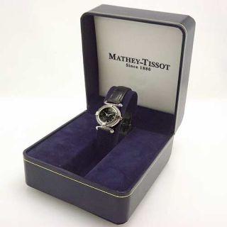 Mathey Tissot Womens Swiss Silver Tone Black Dial Calendar Strap