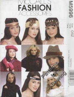 Pattern McCall Sewing Woman Fashion Accessories Headband Collar Hats