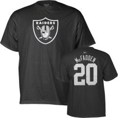 Oakland Raiders Darren McFadden Name and Number Black Jersey T Shirt