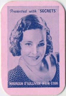 Maureen OSullivan Vintage 1935 Secrets Mini Playing Card Movie Star